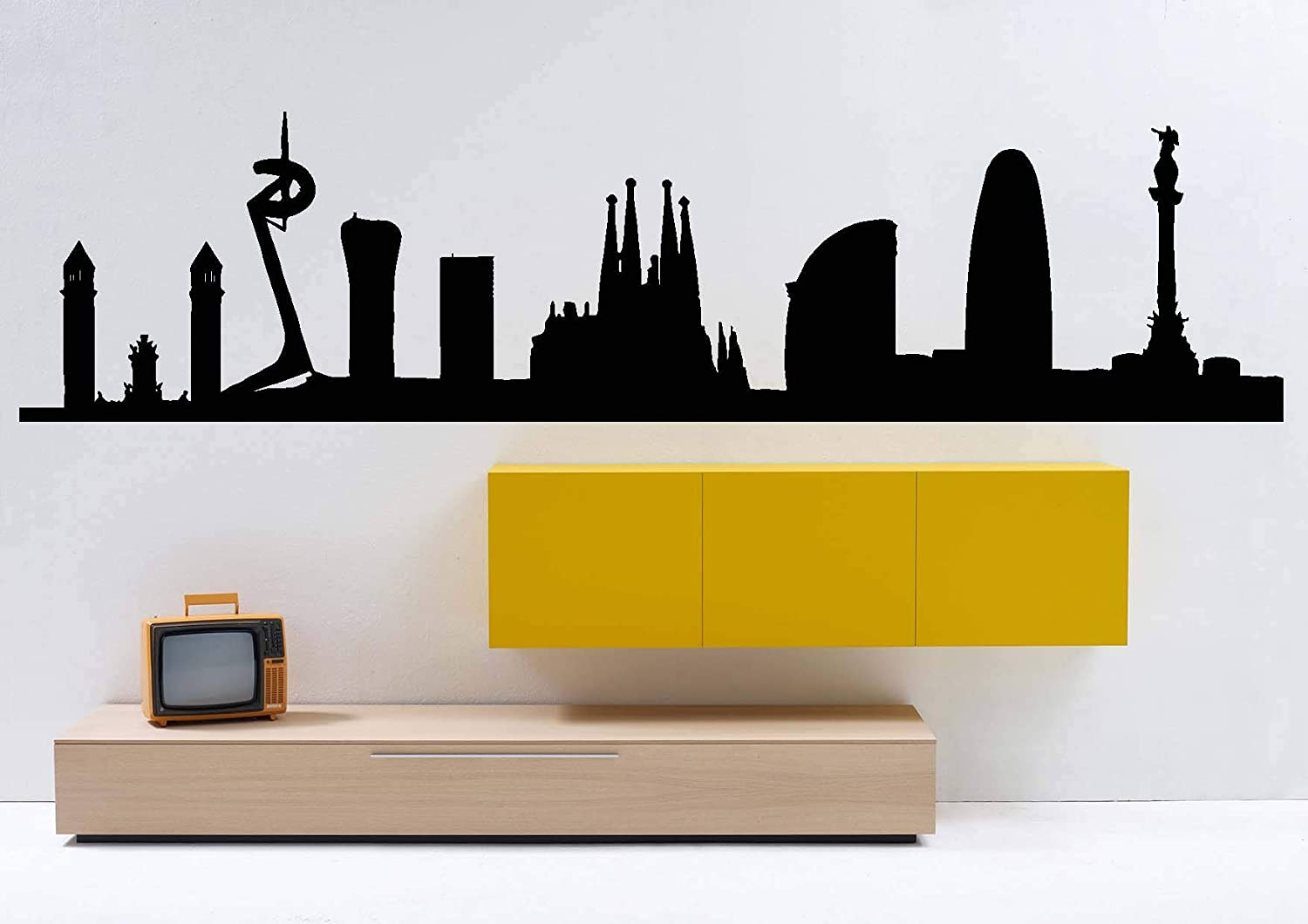Barcelona Spain City Skyline Interior Wall Decal Sticker WITHOUT Lettering