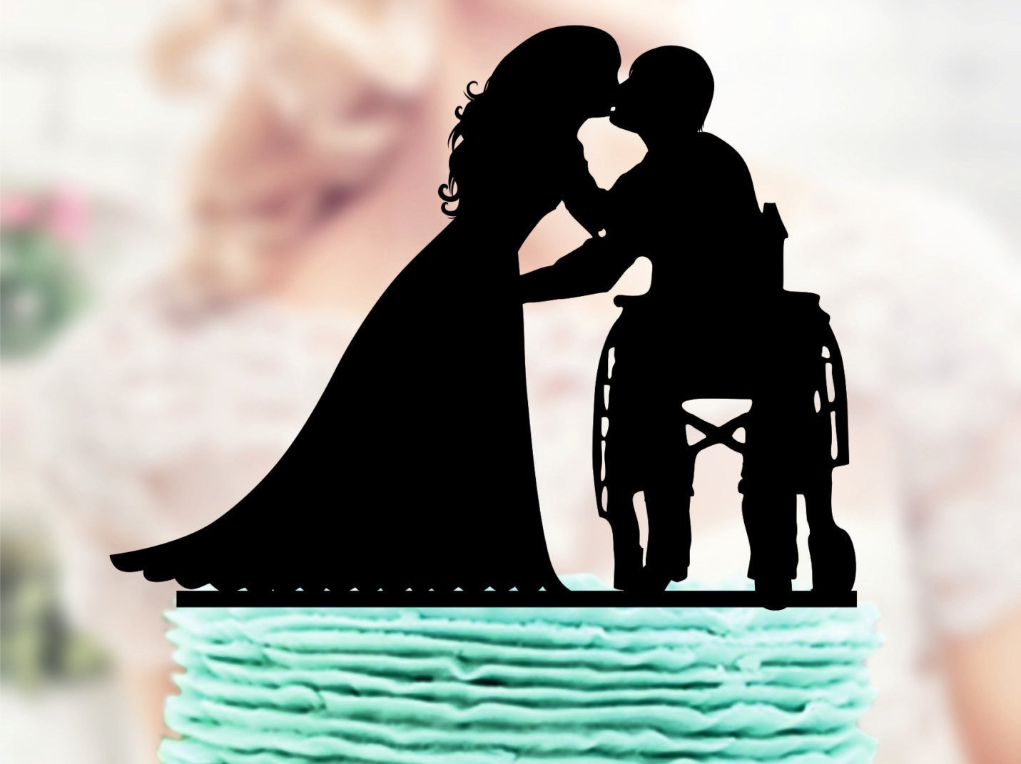 Wheelchair Wedding Cake Topper Groom in Wheelchair Wedding Cake Topper Silhouette Acrylic Cake Topper Bride Groom Topper