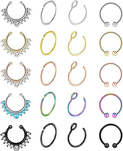6Pcs Fake Nose Rings 20G Hoop Stainless Steel Faux Piercing Jewelry Septum Cliker Non-Piercing Lip Ear Rings