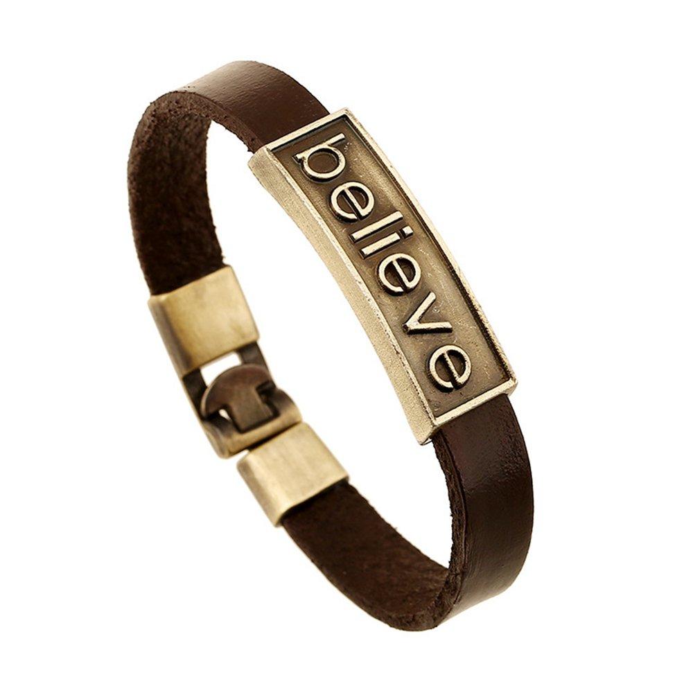 CHOA Vintage Believe Self-Confident Leather Bracelet and I Love Jesus Adjustable Punk leather Bracelet (BELIEVE)