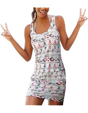492227ac2f8 LIMITA Summer Dress Womens Casual Bohemian Sleeveless Printed Pockets Dress