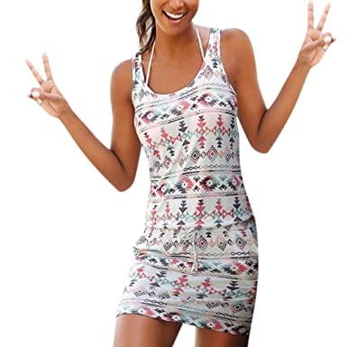 bc637b38395 Hattfart Women Casual Bohemian Printed Summer Beach Short Halter Spaghetti  Straps Mini Dress Sundresses at Amazon Women s Clothing store