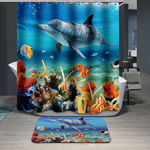 Polyerster Shower Curtain, The Underwater World, Size Width