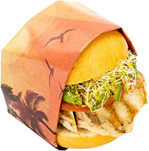 Greaseproof Paper Food Wrap, Basket Liner, Sandwich Wrap, Deli Paper - California Sunshine - 12
