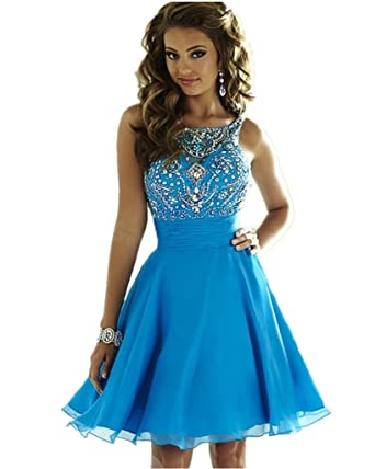 XSWPL Womens New Arrival Crystals Beaded Chiffon Short Prom Dresses Homecoming Dresses for Juniors Blue US2