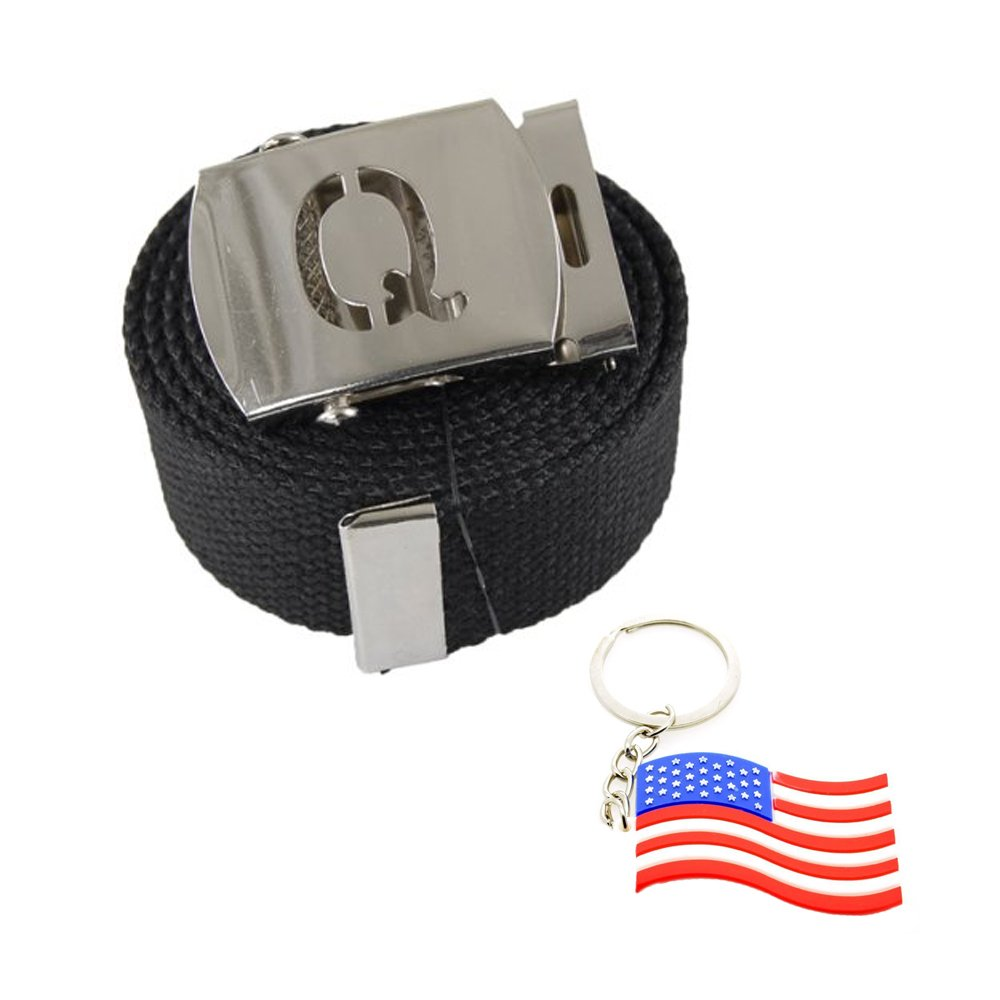 "Capital Initial ""Q"" Canvas Military Web ""Black"" Belt & Silver Buckle 60 Inch"