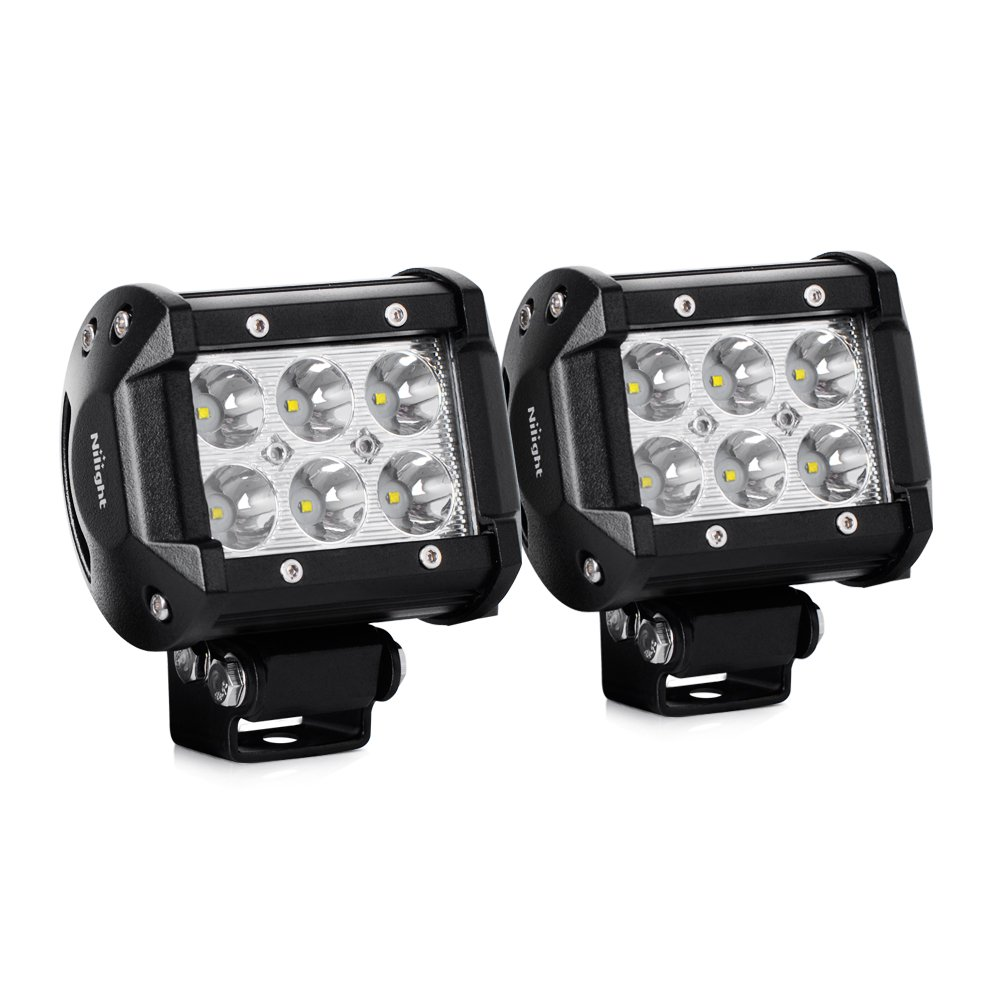 Best off road lights buyers guide for 2018 automotiveward nilight 2pcs 18w 1260lm spot driving fog light off road led lights bar mounting bracket for aloadofball