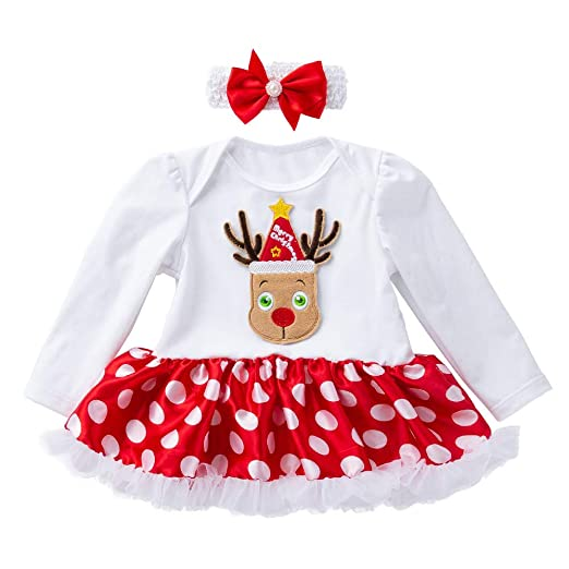 dc887cdef85 Clearance 2pcs Newborn Baby Girls Christmas Princess Tutu Skirt Dress Lace  Dot Santa Claus Romper Dresses