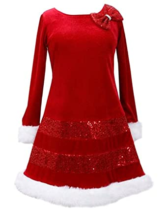 Amazon.com: Bonnie Jean Little Girls Santa Christmas Red Bow ...
