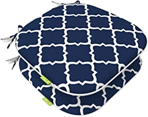 "LVTXIII Indoor Outdoor Seat Cushions, All Weather Patio Accent U-Shape Chair Pads 16"" x 17"" for Garden Patio Furniture Home Office Decoration Set of 2 – Geomentry Navy"