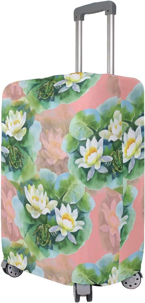 GIOVANIOR White Water Lilly Flowers Luggage Cover Suitcase Protector Carry On Covers