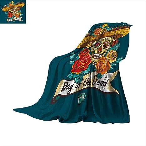 Amazon.com: Anhuthree Dia de los Muertos - Manta supersuave ...