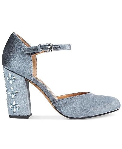 Ladee Two-Piece Embellished Block-Heel Pumps Women's Shoes Blue 9 M