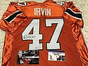 Michael Irvin Autographed Signed Miami Hurricans Orange Custom Jersey GTSM Irvin Hologram & COA