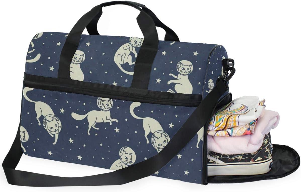 Gym Bag Cat Cosmic Astronauts Duffle Bag Large Sport Travel Bags for Men Women