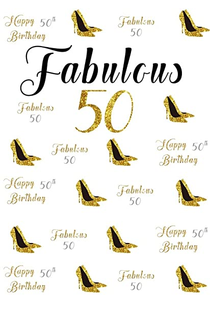 CSFOTO 3x5ft Background For Happy 50th Birthday Party Photography Backdrop Fabulous 50 Gold High Heels Female