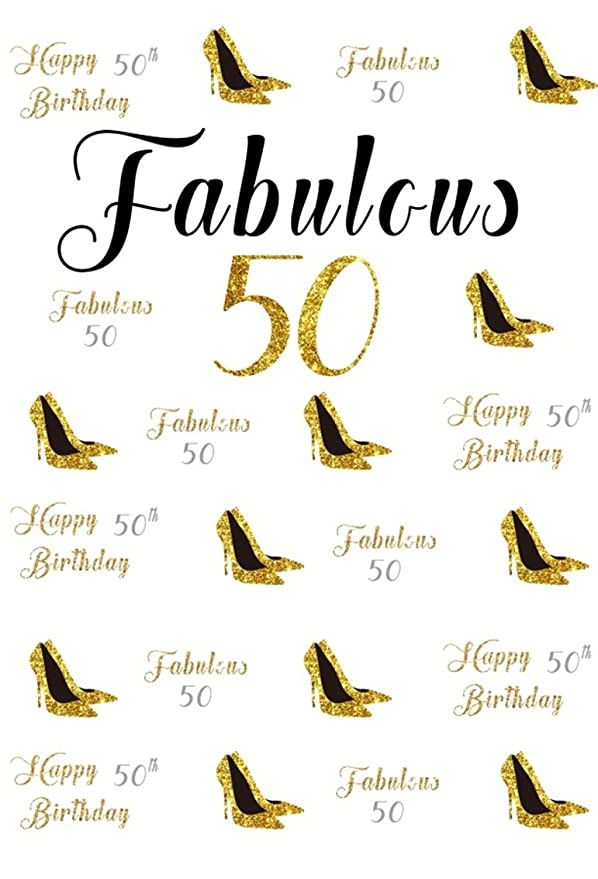 CSFOTO 5x7ft Background For Happy 50th Birthday Party Photography Backdrop Fabulous 50 Gold High Heels Female Bash Ornament Celebration Adult Woman