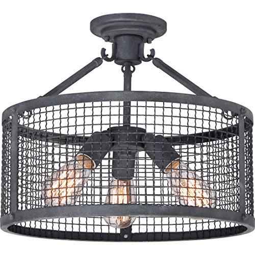 Quoizel WLR1716MB Wilder Metal Mesh Semi Flush Mount Ceiling Lighting, 3-Light, 300 Watts, Mottled Black (14