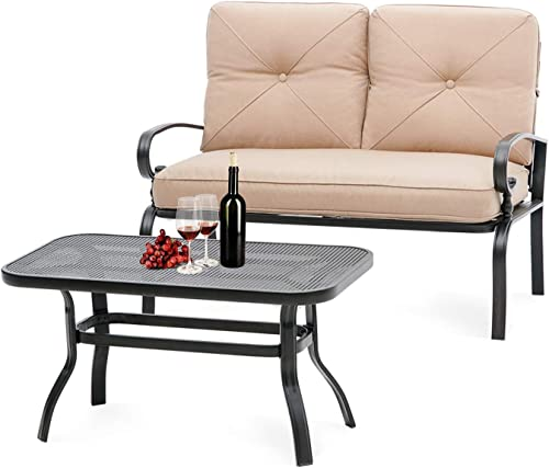 Oakmont Outdoor 2 Pcs Patio Loveseat Bench