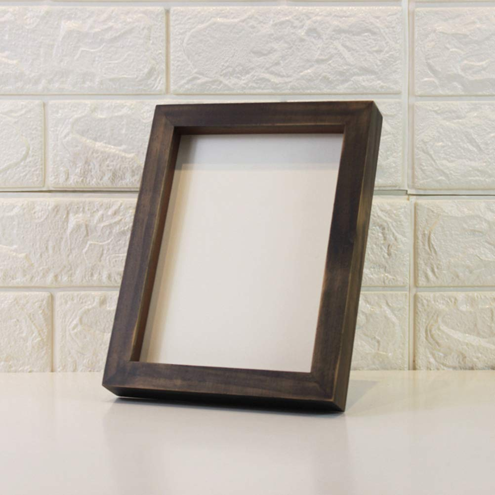 STOBOK 8 Inch Wood Picture Frame with Stand Display Shadow Box Frame Desktop Photo Frame