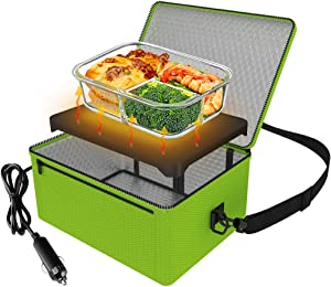 Portable Oven, 12V Car Food Warmer Portable Personal Mini Oven Electric Heated Lunch Box for Meals Reheating & Raw Food Cooking for Road Trip/Camping/Picnic/Family Gathering(Green)