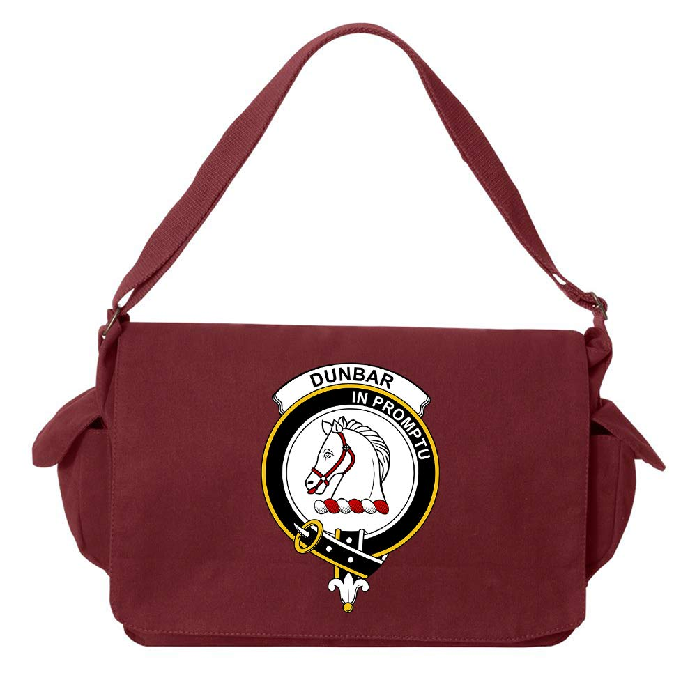 Tenacitee Scottish Clan Crest Badge Dunbar Maroon Brushed Canvas Messenger Bag