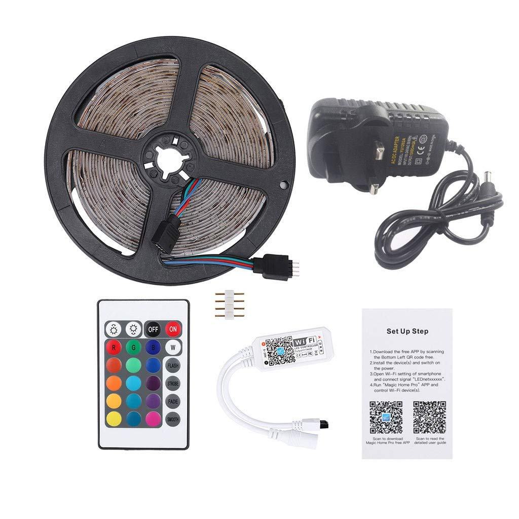 1KTon LED Strip Lights 5M 300 LEDs 2835 RGB Strip Lights IP20 Waterproof Rope Lights Color Changing Flexible Tape Light Kit with WIFI Controller,12V 2A Power Supply,Driver by 1KTon