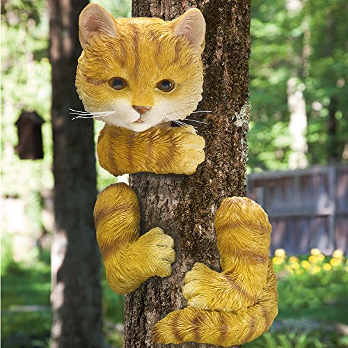 Garden Decor Cats: Kitty Cat Tree Hugger Peeker Art Sculpture Whimsical