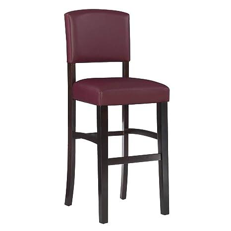 Miraculous Linon Monaco 30 Dark Red Bar Stool 17 75W X 19 5D X 44 8H Machost Co Dining Chair Design Ideas Machostcouk