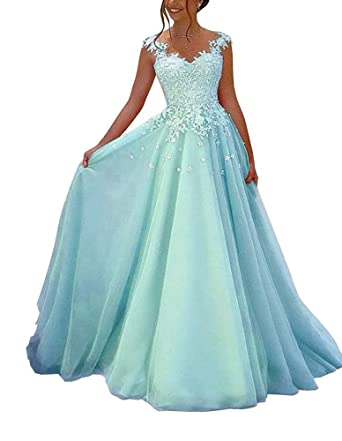 Amazon.com: Prom Dresses Evening Dresses Lace Appliques Bridesmaid Dresses V-Neck A-Line Wedding Dress Homecoming Dresses 2018 For Women: Clothing