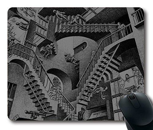 Custom Gaming Mouse Pad with Escher Art Drawing Illust Non-Slip Neoprene Rubber Standard Size 9 Inch(220mm) X 7 Inch(180mm) X 1/8 Inch(3mm) Desktop Mousepad Laptop Mousepads Comfortable Computer Mouse (Escher Drawing)