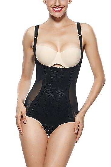 005b9803024c8 KHAYA Women s Zipper Body Briefer Open Bust Shapewear Bodysuit at ...