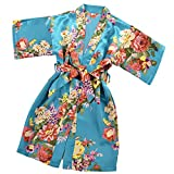 fe94e4e459a Galleon - JOYTTON Girl s Satin Floral Kimono Bathrobe Flower Girl ...