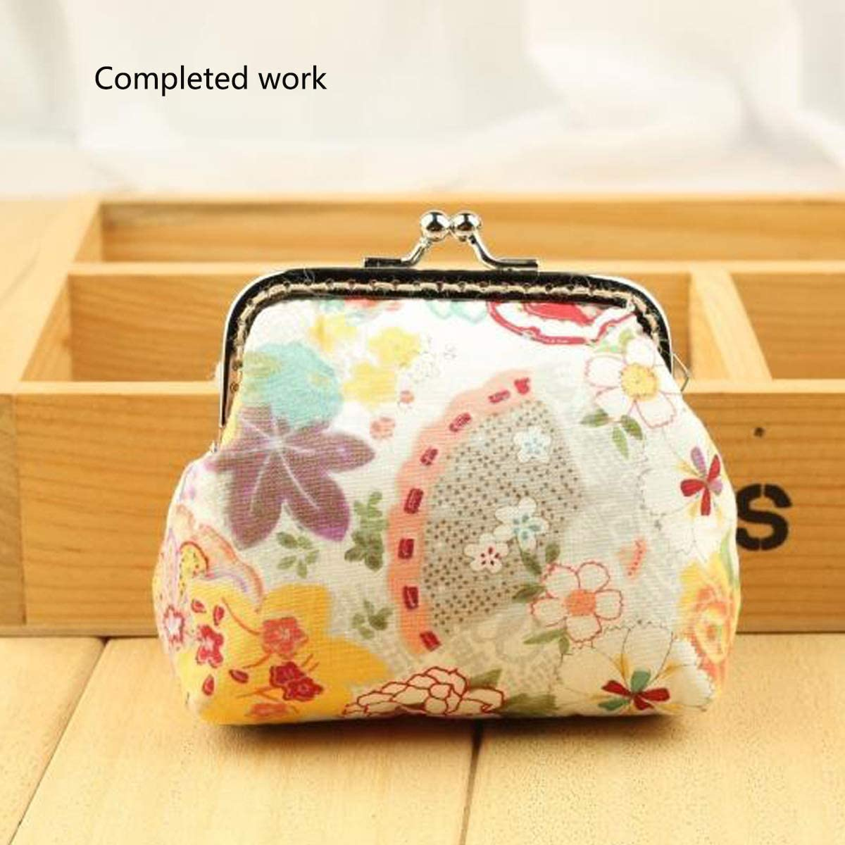 Super Cute Lucky Akita Dog Pattern, Make Your Bag More Cute! Personality Monkey Rise 8.5cm Square Coin Purse Handmade Supplies Peony Flower kiss Clasp Bag Supplies Handmade kit Pack of 3