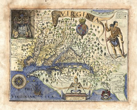 061 John Smith's Map of Virginia 1606 vintage historic antique map poster (Virginia Antique Map)
