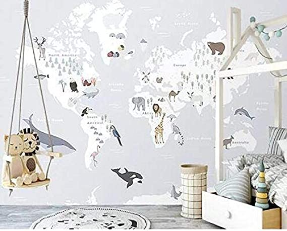 Papier Peint 3D Carte Monde Animal Mignon Moderne Intiss/é D/écoration Murale