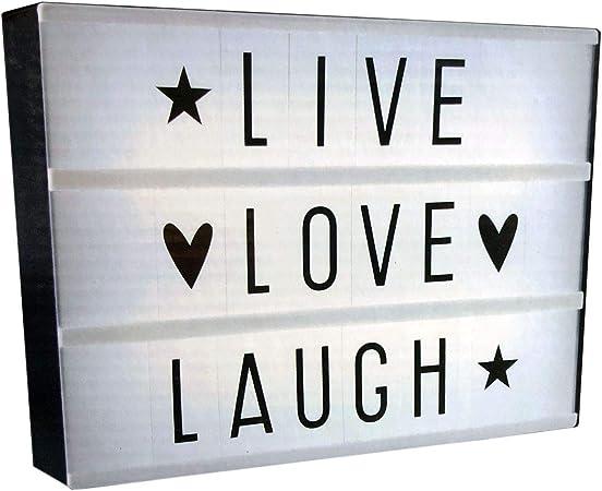 Caja de luz LED con Letras/símbolos, Funciona con Pilas, lámpara Decorativa: Amazon.es: Hogar