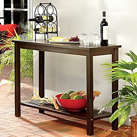 Outdoor Rustic Espresso Brown Finish Eucalyptus Wood Console Sofa Table  Storage Shelf Buffet Server Patio Furniture