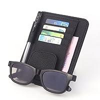 Organiseur pour pare-soleil de voiture avec 4fentes pour cartes de crédit, 1support pour lunettes de soleil, 1passant à stylo et une pochette pour factures et reçus, en similicuir