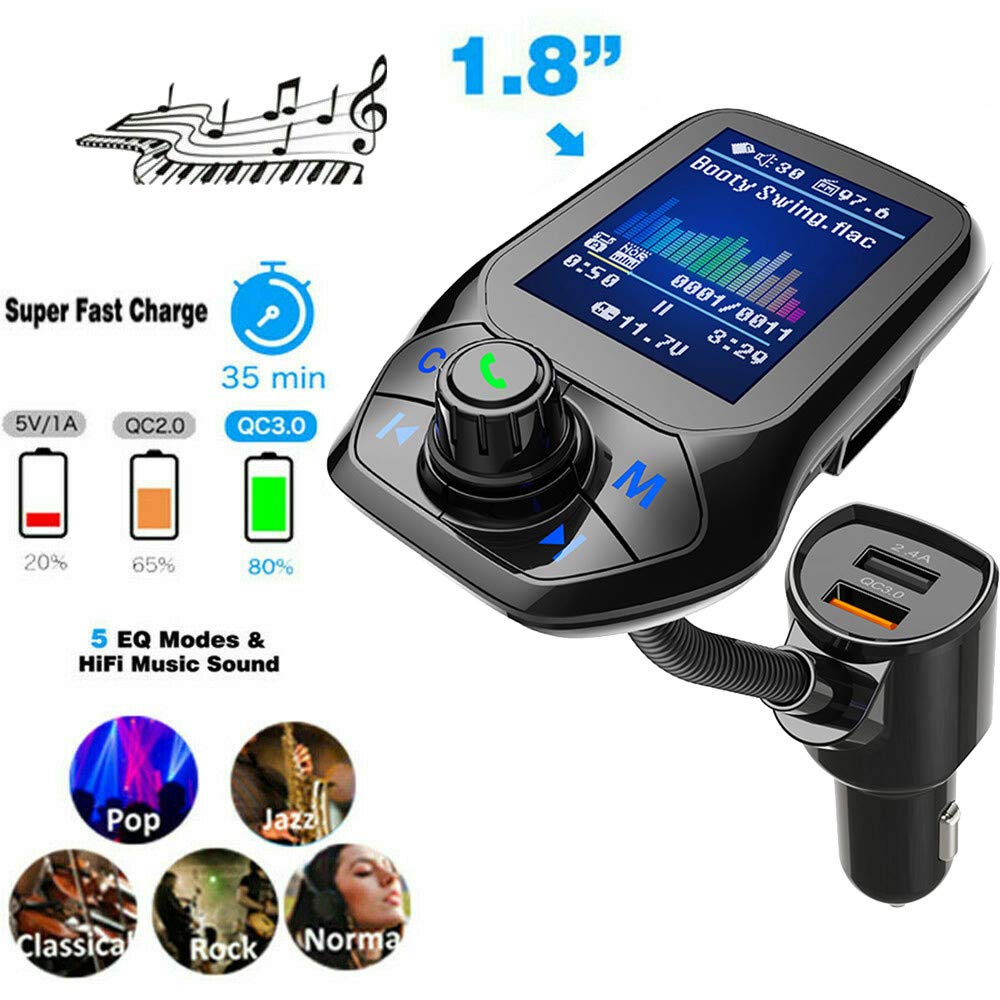 (Upgraded Version) 1.8'' Color Display Bluetooth FM Transmitter for Car, Wireless Radio Transmitter Adapter with EQ Mode, Power Off, 3 USB Ports, 4 Music Playing, Hands-Free Calls, 5.0 AUX Input by WELCOMEUNI