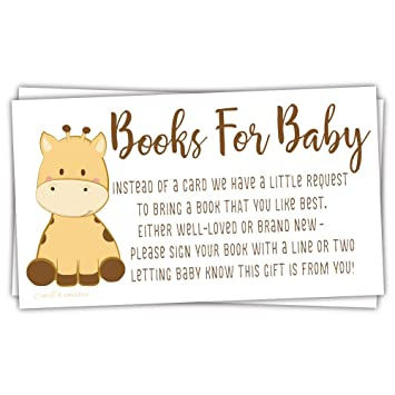 Amazon Com 50 Giraffe Books For Baby Shower Request Cards Baby