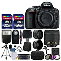 Nikon D5300 DSLR Camera + Nikon 18-55mm VR AF-P Lens + Transcend 48GB Memory Card + Telephoto & Wide Angle Lens + Wireless Remote + Slave Flash + Valued Bundle - International Version (No Warranty)