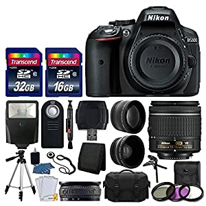 Nikon D5300 DSLR Camera + Nikon 18-55mm VR AF-P Lens + Transcend 48GB Memory Card + Telephoto & Wide Angle Lens + Wireless Remote + Slave Flash + Valued Bundle - International Version (No Warranty)