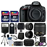 Nikon D5300 DSLR Camera + Nikon 18-55mm VR AF-P Lens + Transcend 48GB Memory Card + Telephoto & Wide Angle Lens + Wireless Remote + Slave Flash + Valued Bundle – International Version (No Warranty) For Sale