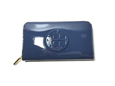 9bcb69c1a Amazon.com  Tory Burch Stacked Patent Zip Around Continental Wallet in  Hudson Bay  Shoes