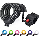 NDakter Bike Lock Cable,4 Feet High Security 5 Digit Resettable Combination Coiling Bike Cable Lock,Bicycle Cable Lock…