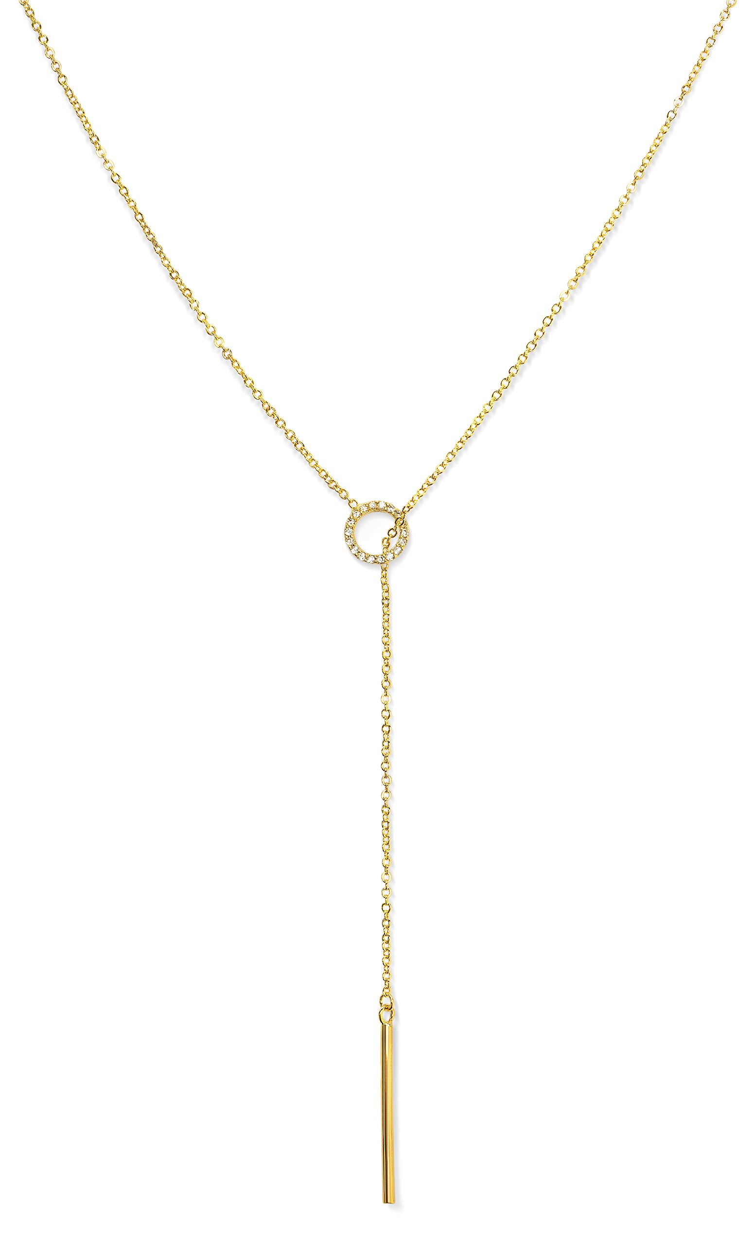 Benevolence LA Gold Necklace Lariat Drop Y Vertical Bar: Pendant Tiny Chic 14k Gold Diamond Shaped Open Circle Cubic Zirconia Looped Long Chain for Women by Candace Cameron