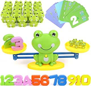 REMOKING Balance Math Toys Game for Kid,Toddler,Baby,STEAM Educational Learning Toys,Teaching&Student Counting Game Gift Toy for Kids Age 3+, Toy Children Mathematics Toy Including Frog,Card,Number