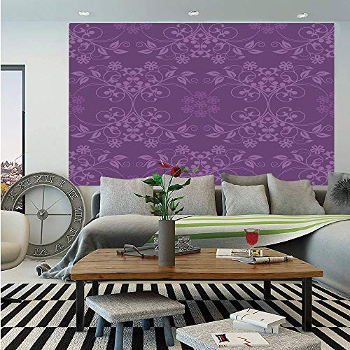 SoSung Eggplant Wall Mural,Gorgeous Well Formed Flowers on Purple Background Damask Floral Arrangement Ornament Decorative,Self-Adhesive Large Wallpaper for Home Decor 83x120 inches,Violet
