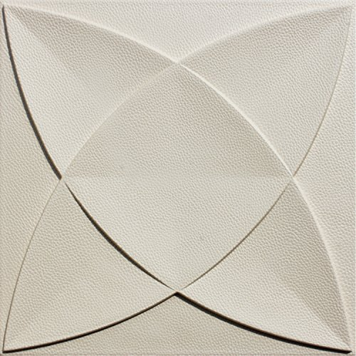 WEDECOR Decorative Anti-Collision Soundproof Faux Leather Tile, Soft 3D Wall Panel (Pack of 9) 40x40cm 15.5sq.ft (Matt White)